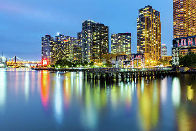 Photograph - Long Island City Skyline At Dusk by Mihai Andritoiu