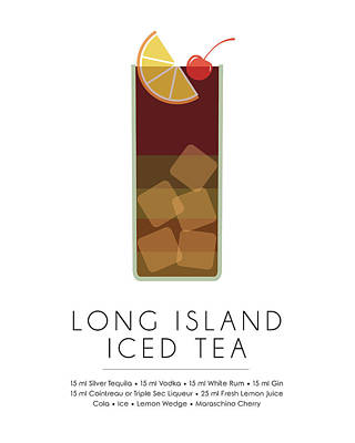Long Island Iced Tea Classic Cocktail - Minimalist Print Art Print