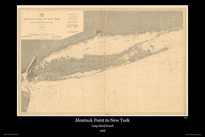 Nautical Chart Photograph - Long Island Sound 1899 by Adelaide Images