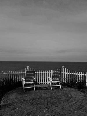 Photograph - Long Island Sound Patio B W by Rob Hans