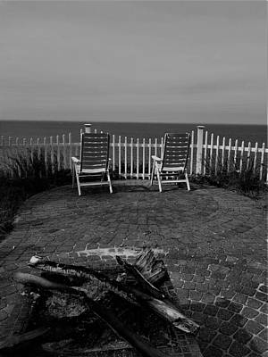 Photograph - Long Island Sound Patio Fire Pit B W by Rob Hans