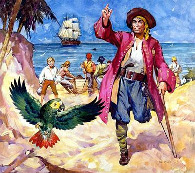 Crutch Painting - Long John Silver And His Parrot by James McConnell