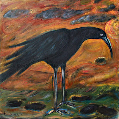 Painting - Long Legged Crow by Katt Yanda