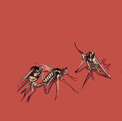 Long-legged Flies Art Print