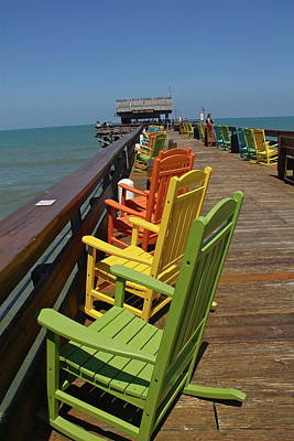 Photograph - Long Line Of Colorful Chairs by Denise Mazzocco