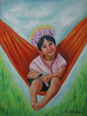Painting - Long Neck Karen Tribe Girl by Wanvisa Klawklean