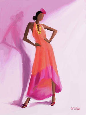 Pink And Black Painting - Long Orange And Pink Dress Fashion Illustration Art Print by Beverly Brown Prints