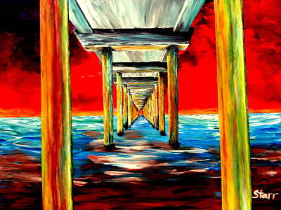 Most Popular Painting - Long Pier Glowing In The Dark by Irving Starr