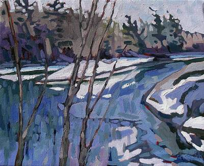 Cedar Water Painting - Long Reach Gray Day by Phil Chadwick