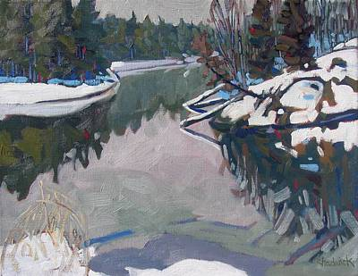Cedar Water Painting - Long Reach March by Phil Chadwick