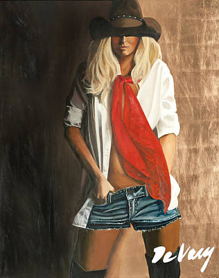 Scottsdale Western Painting - Long Red Scarf by David DeVary