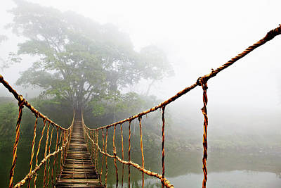 Asia Photograph - Long Rope Bridge by Skip Nall
