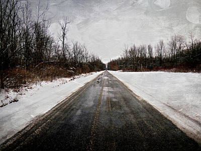 Photograph - Long Snowy Country Road by Leslie Montgomery