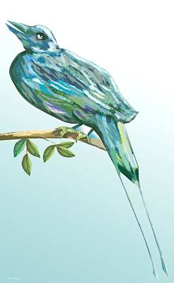 Abstract Digital Drawing - Long Tailed Blue Bird B by Thecla Correya