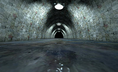 Traffic Digital Art - Long Tunnel Lights by Allan Swart