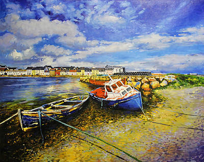 Galway Painting - Long Walk With Boats by Conor McGuire