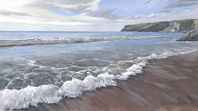 Painting - Long Waves At Trebarwith by Lawrence Dyer