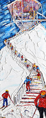Snow Fort Painting - Long Way Down Verbier, Mt Fort by Pete Caswell