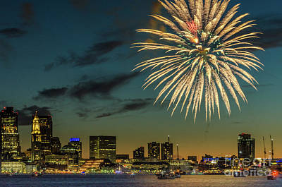 Photograph - Long Wharf Boston Fireworks by Mike Ste Marie