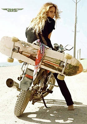 Andretti Photograph - Longboard, The Motorcycle And The Girl by Thomas Pollart