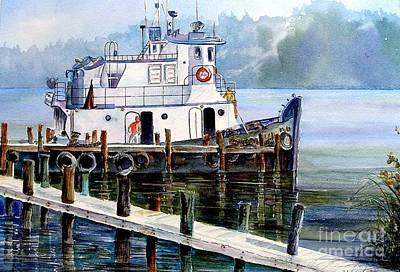 Wall Art - Painting - Longboat Key Tugboat by Midge Pippel