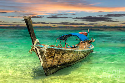 Longboat Sunset Print by Adrian Evans