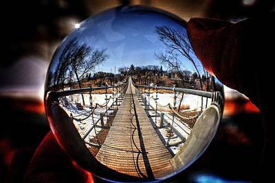 Photograph - Longest Swinging Bridge In Canada Souris Manitoba  by David Matthews