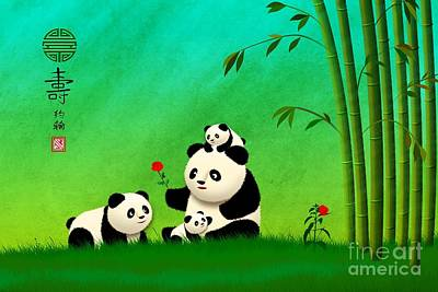 Digital Art - Longevity Panda Family Asian Art by John Wills