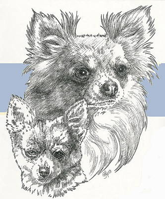 Mixed Media - Longhaired Chihuahua And Pup by Barbara Keith