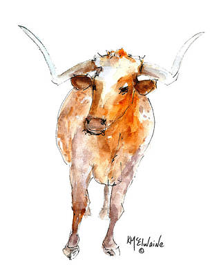 Painting - Longhorn 1 Watercolor Painting By Kmcelwaine by Kathleen McElwaine
