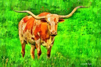 Cows Digital Art - Longhorn 2 - Da by Leonardo Digenio