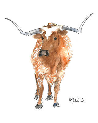 Painting - Longhorn 2 Runnin Wild Watercolor Painting By Kmcelwaine by Kathleen McElwaine