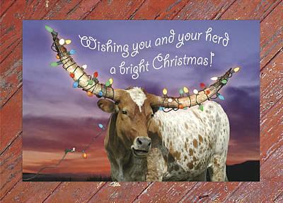 Longhorn Photograph - Longhorn Bright Christmas Card by Robert Anschutz