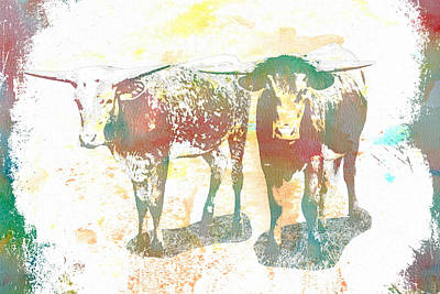 Digital Art - Longhorn Brothers Watercolor by Bartz Johnson
