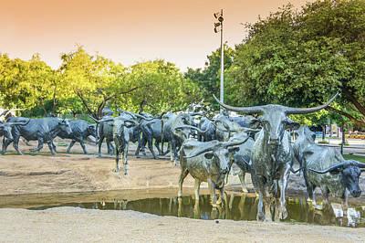 Longhorn Photograph - Longhorn Cattle Sculpture In Pioneer Plaza, Dallas Tx by Art Spectrum