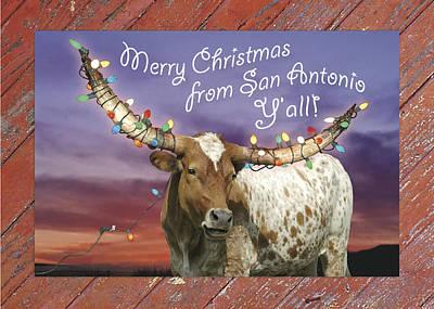 Longhorn Christmas Card From San Antonio Print by Robert Anschutz