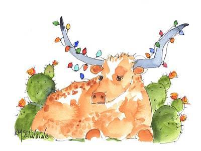 Painting - Longhorn Christmas by Kathleen McElwaine