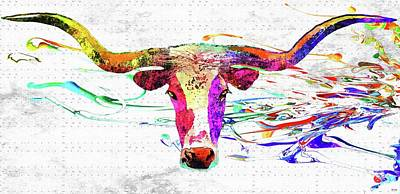 Longhorn Mixed Media - Longhorn Grunge by Daniel Janda