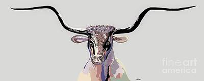 Painting - Longhorn In Denim Colors by Eloise Schneider