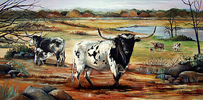 Northeast Painting - Longhorn Land by Cynara Shelton