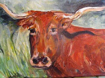 Steer Painting - Longhorn by Linda King