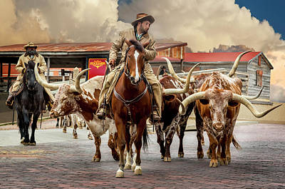 Cattle Drive Photograph - Longhorn Parade by Kelley King