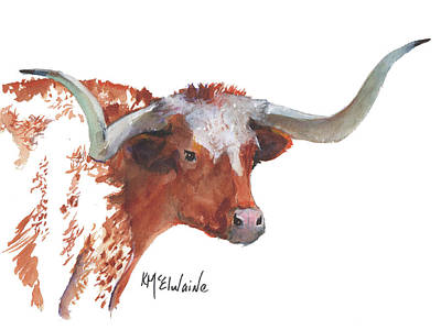Painting - Longhorn Portrait Lh006 By Kmcelwaine by Kathleen McElwaine