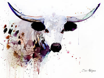 Cow Mixed Media - Longhorn by Slavi Aladjova