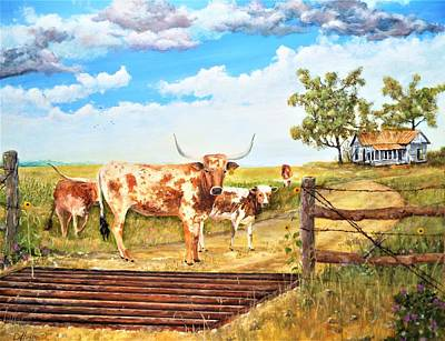 Longhorn Stand Off Your Place Or Mine Art Print