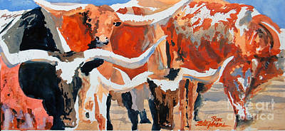 Painting - Longhorn Study #3 by Ron Stephens