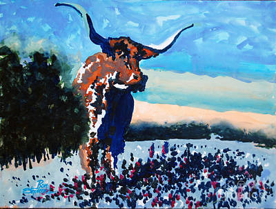 Painting - Longhorn Study #4 by Ron Stephens