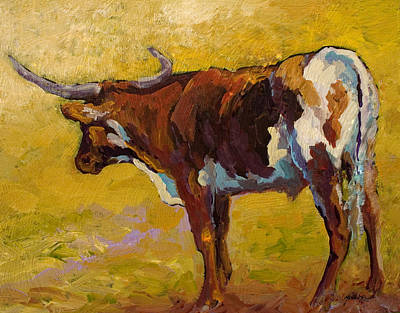 Longhorns Painting - Longhorn Study by Marion Rose