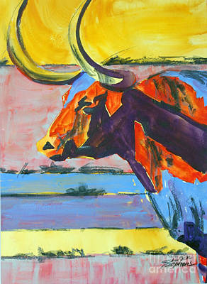 Painting - Longhorn Study#1 by Ron Stephens