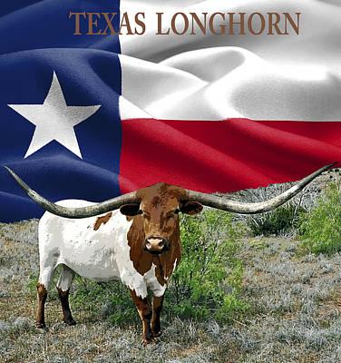 Longhorn Digital Art - Longhorn Texas Pride by Daniel Hagerman